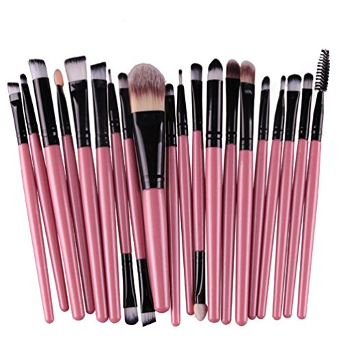KOLIGHT 20 Pcs Pro Makeup Set Powder Foundation Eyeshadow Eyeliner Lip Cosmetic Brushes (Black+Pink) (Pro Brush Makeup)