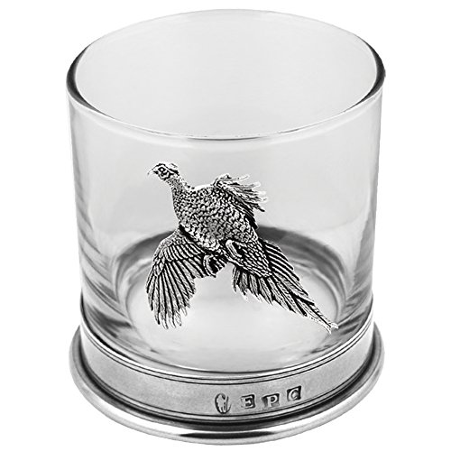English Pewter Company 11oz Old Fashioned Whisky Rocks Glass with Pewter Base and Pheasant Motif [PHS104]