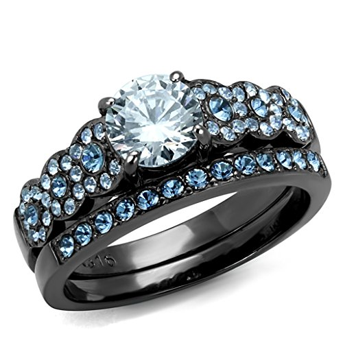 Womens Black Ion Plated Stainless Steel Clear and Blue Cubic Zirconia Stack Ring Set