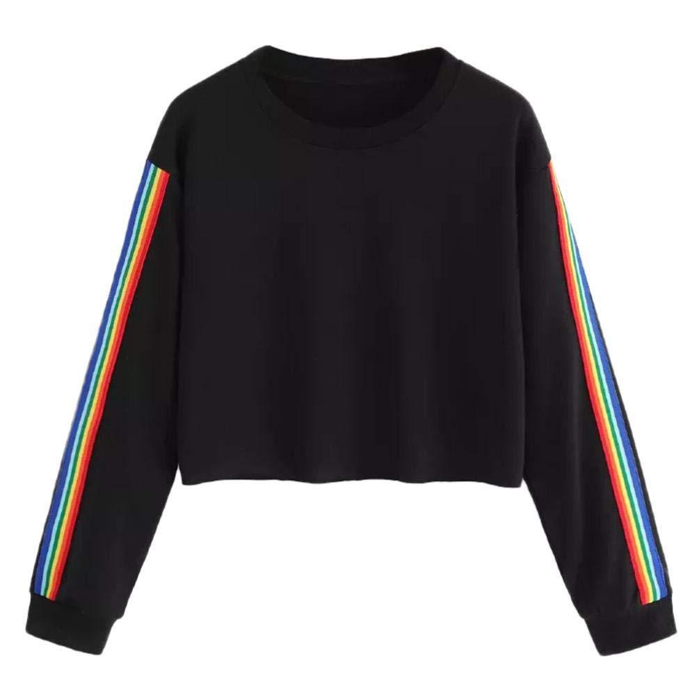 BaZhaHei Donna Top, Womens Long Sleeve Rainbow Patchwork O Collo Felpa Casual Camicia Pullover