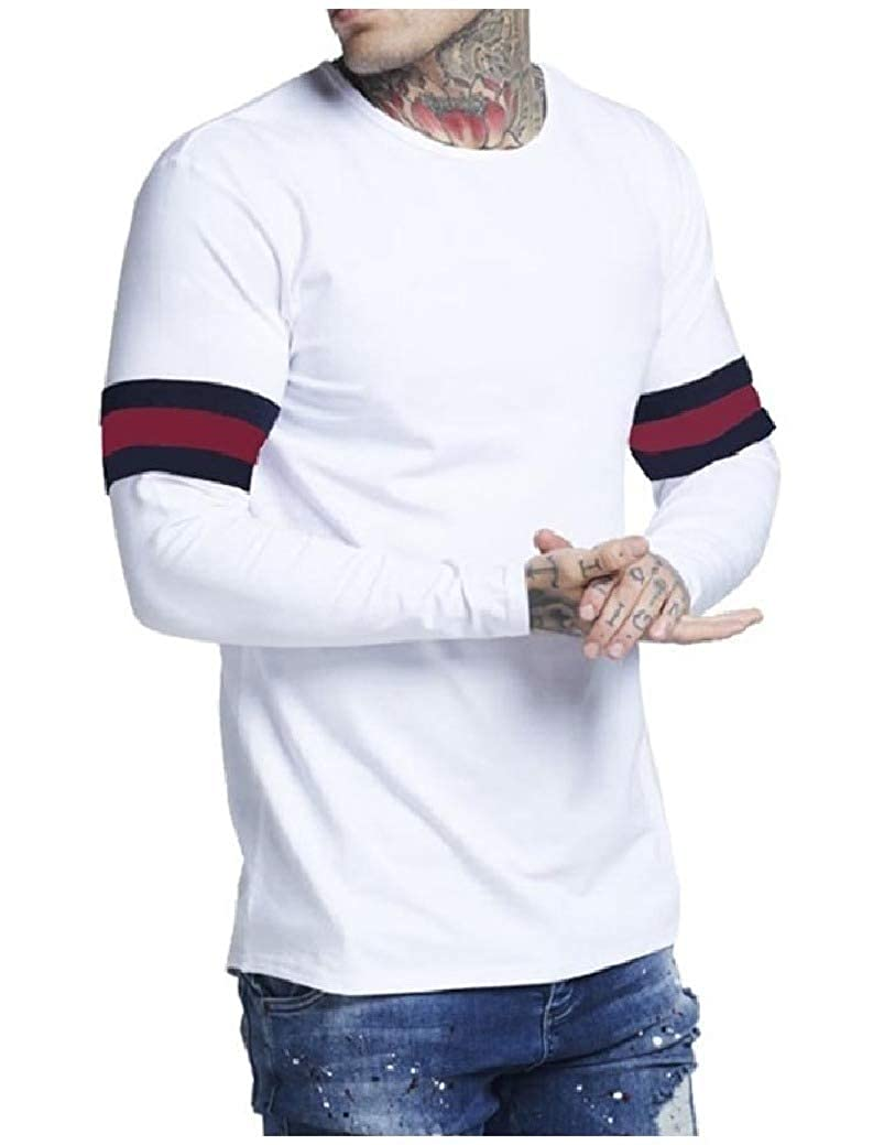 Freely Mens Pullover Splice Long Sleeve Leisure Round Neck Plus-Size Tees Top