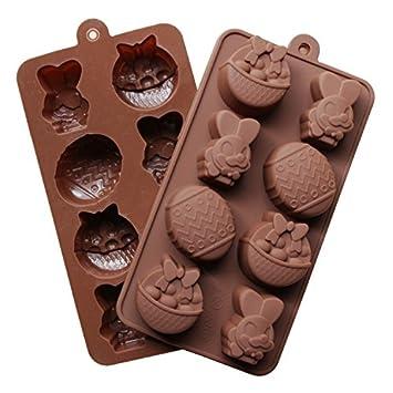 Molde de silicona para Chocolate repostería molde para tartas DIY en forma de huevo de Pascua, 2 pcs, color aleatorio: Amazon.es: Hogar