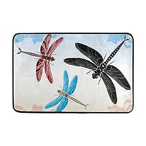 aideess Beautifull color libélula área alfombra alfombra alfombra de suelo antideslizante Doormats para salón o dormitorio 23,6x 15,7pulgadas