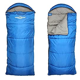 "Lucky Bums Compact Lightweight Muir Spring Summer Fall Sleeping Bag Youth 40°F/5°C with Digital Accessory Pocket… 1 LIGHTWEIGHT COMPACT DESIGN - At 13""x7"" rolled up weighing only 2.2 pounds . Measuring in unrolled 64""x27"". COZY AND COMFORTABLE - The draft collar and half-circle mummy style hood with drawstrings envelopes your head in warmth. Equipped with front zipper pocket, a full-length zipper allowing for blanket style and a Velcro fastener for added security. INDOOR/OUTDOOR USE - Rated for 40 degrees Fahrenheit"