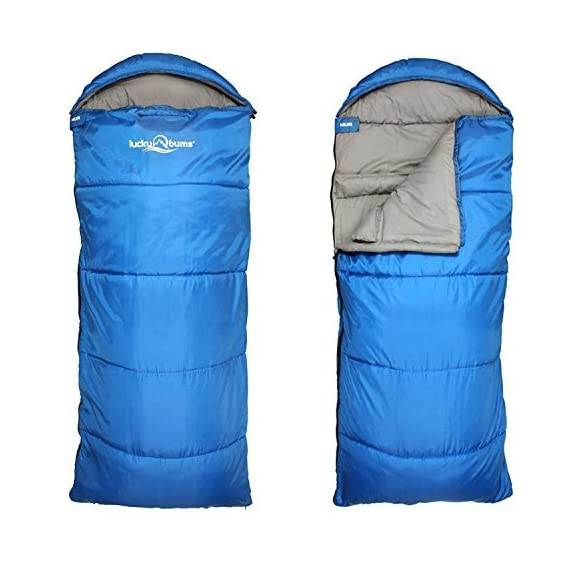 "Lucky Bums Compact Lightweight Muir Spring Summer Fall Sleeping Bag Youth 40°F/5°C  with Digital Accessory Pocket Compressing Carry Bag Included. 1 LIGHTWEIGHT COMPACT DESIGN - At 13""x7"" rolled up weighing only 2.2 pounds . Measuring in unrolled 64""x27"". HIGH QUALITY MATERIALS - Such as 100% polyester shell with Hollow Fiber filling making this sleeping bag  warm and comfy as well. synthetic insulation allows the bag to be water-resistant. COZY AND COMFORTABLE - The draft collar and half-circle mummy style hood with drawstrings envelopes your head in warmth. Equipped with front zipper pocket, a full-length zipper allowing for blanket style and a Velcro fastener for added security."