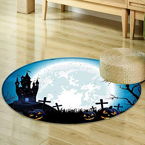 Mikihome Non Slip Round Rugs Halloween Decorations Spooky Concept with Halloween Icons Old Celtic Harvest Festival Figures in Dark Image Blue Decor Oriental Floor and Carpets R-24