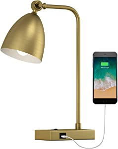 OYEARS USB Desk Lamp Mid Century Modern Reading Lamp Office Metal Gold Work lamp for Bedroom Living Room Table Lamp Adjustable Head Matte Gold