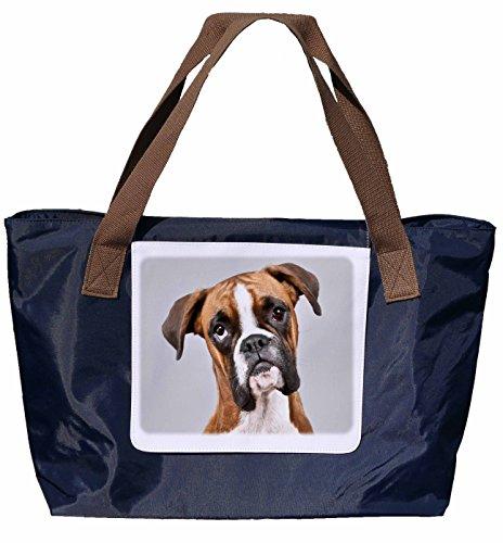 Shopper / Tracolla / Shopping Bag / Borsa Da Trasporto / Tracolla In Nylon Blu Navy - Taglia 43x33cm - Motivo: Cane Ritratto Boxer Tedesco - 02