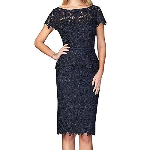 Schwarz Abschlussballkleider Knielang Charmant Elegant Damen Promkleider Abendkleider Brautmutterkleider Spitze wx8UfzS