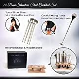 14 Piece Cocktail Bar Set 25 Ounce Shaker Stainless Steel With Beech Stand 4 Straw Spoons Muddler Double Sided Jigger Strainer 2 Pourers Mixing Spoon Bottle Opener Corkscrew Ice Tongs