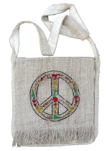 Hemp Peace Sign Purse Handbag with Rasta Colors