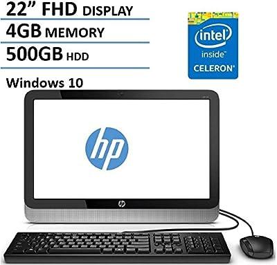 HP 22 Inch FHD IPS All-in-One Desktop Computer (Intel Celeron Dual Core 1.6GHz CPU, 4GB DDR3 RAM, 500GB HDD, USB 3.0, Webcam, Wifi, DVDRW, Bluetooth, HDMI, Windows 10) (Certified Refurbished)
