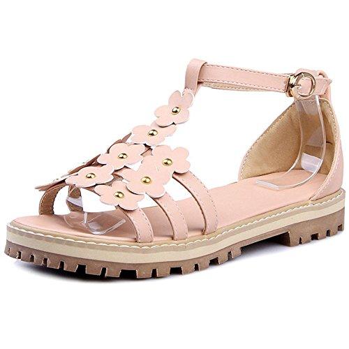 FANIMILA Mujer Moda Correa En T Punta Abierta Sandalias Chicas Colegio Dulce Zapatos With Flor Rosado