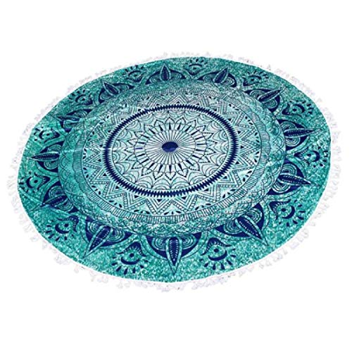 Yeefant Beach Throw Blanket Rug, Women Round Boho Beach Pool Home Shower Towel, Bed Sofa Cover Table Cloth Floor Mat Bohemia Hippie Mandala Tapestry Pad Yoga Mats Green-Dia:150cm/59.0