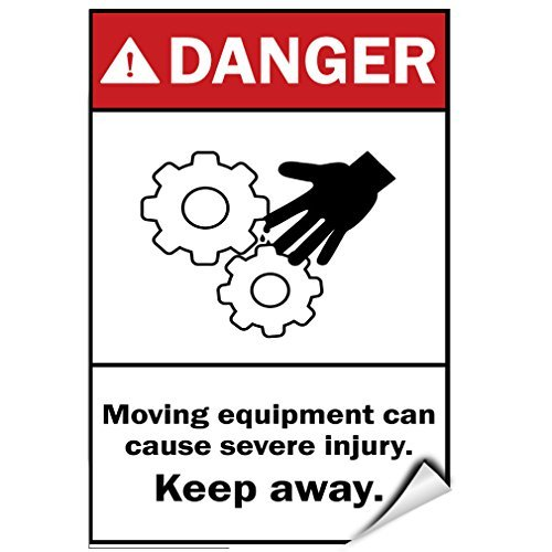 (Danger Moving Equipment Can Cause Severe Injury. Keep Away. Label Decal Sticker Vinyl Label 7 X 10 Inches)