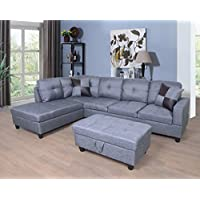 Golden Coast Furniture 2 PC L Shape Sectional Sets Including Ottoman (With Multiple Colors) (Right Hand Facing, Gray)