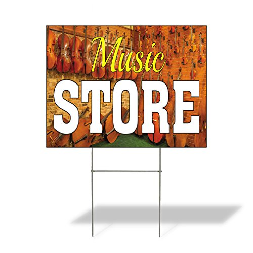 Plastic Weatherproof Yard Sign Violins Rock Bands Music Store White for Sale Sign One Side 18inx12in