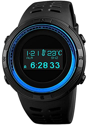- Digital Mens Sports Watch Electronic Military Multifunctional Pedometer Calories Compass OLED Display (Blue)