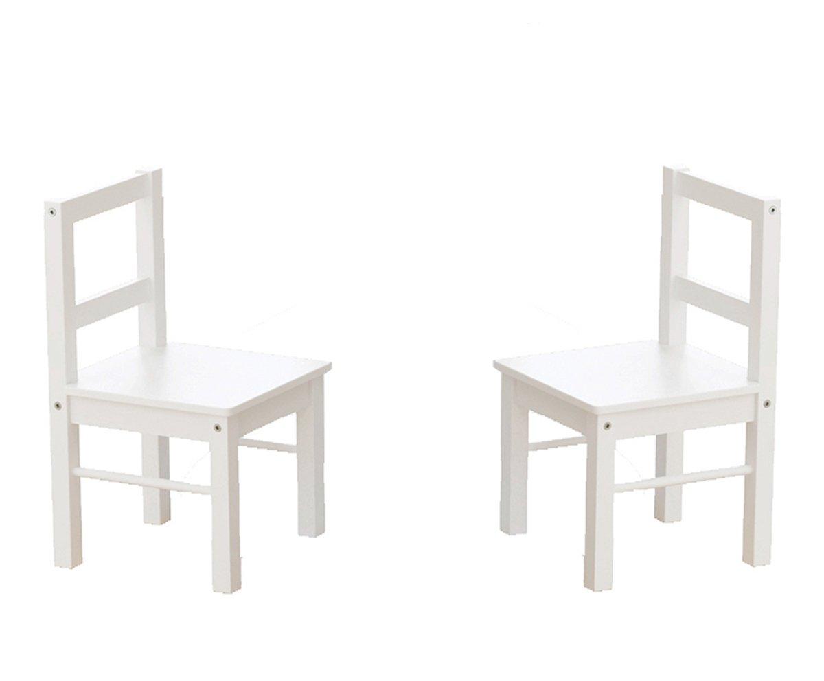 Utex Wooden Chair Coppia di Bambini per Il Gioco o attivit/à Set di 2 Bianco