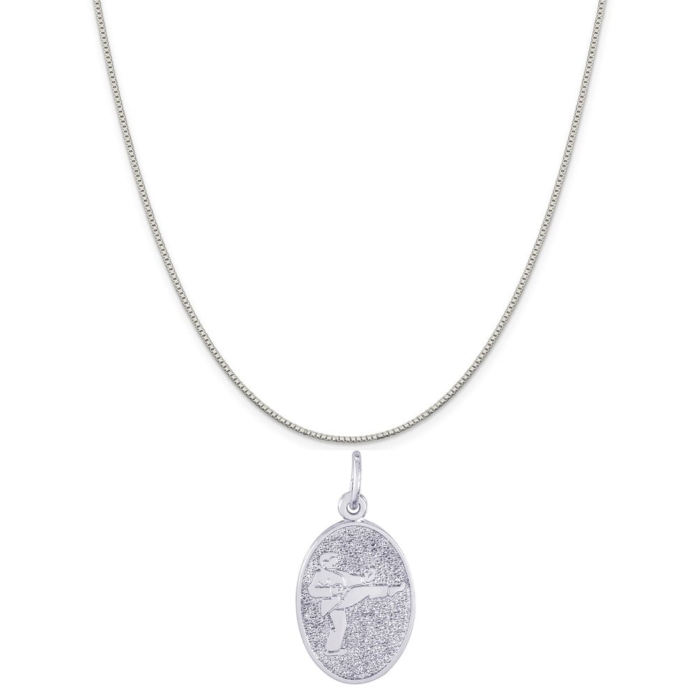 Box or Curb Chain Necklace Rembrandt Charms Sterling Silver Martial Arts Disc Charm on a 16 18 or 20 inch Rope