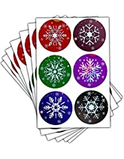 Snowflake Christmas Stickers, 2 Inch Round Christmas Snowflake Sealing Labels Decals, Snowflake Holiday Sticker for Envelopes Bags Seals Decorations (504 Pcs)