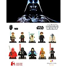 ABG toys 10 Minifigures STAR WARS Darth Vader, Darth Maul, Anakin Skywalker, C-3PO, Emperor Palpatine, R2-D2, Han Solo, Obi-Wan Kenobi, Yoda, Royal Guard Series Building Blocks Sets Toy Compatible With Lego (No box, no card)