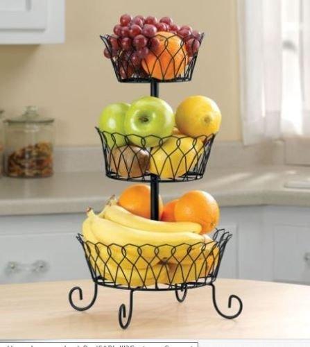 Fruit Basket Rack 3 Tier Holder Storage Organizer Stand Wire, Black