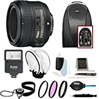 Nikon AF-S NIKKOR 50mm f/1.8G Lens + 58mm Filters + Backpack + Flash + Bounce Diffuser + Accessory Bundle