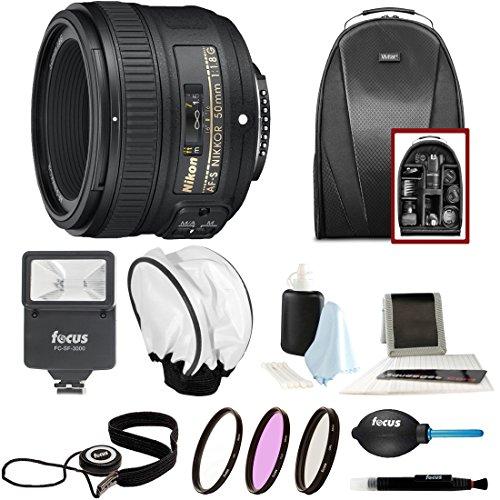 Nikon AF-S NIKKOR 50mm f/1.8G Lens + 58mm Filters + Backpack + Flash + Bounce Diffuser + Accessory Bundle
