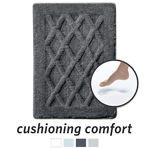 MICRODRY Luxury SoftTip, Charcoal Infused Memory Foam Bath Mat with GripTex Skid-Resistant Base, 17×24, Charcoal