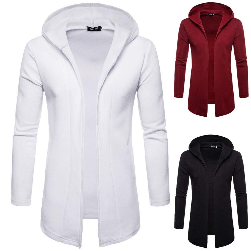 Amazon.com: PASATO Mens Classic Hooded Solid Trench Coat Jacket Cardigan Long Sleeve Fashion Outwear Blouse Clothes Featured: Clothing