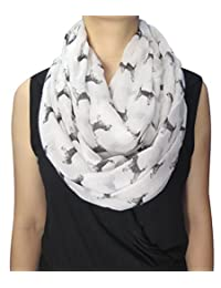 Lina & Lily Sketch of Dogs Print Women's Infinity Scarf Lightweight (Beagle-White)