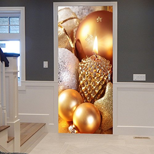 Glittered Ball - A.Monamour Golden Champagne Color Glittered Stars Balls Candles Christmas Holiday Ornaments 3D Print Eco-Friendly Vinyl Room Door Decals Wallpaper Wall Murals Removable Stickers Posters DIY Art Decors