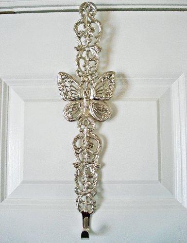 Wreath Hangers - Nickel Butterfly Scroll Wreath Hanger - Wreath (Solid Brass Wreath Hanger)