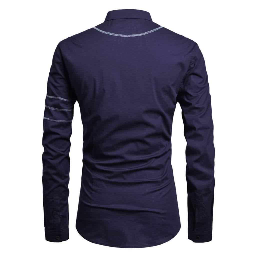 Mr.Macy Men Striped Splicing Pocket Long Sleeve Shirt Fashion Long Sleeve Blouse Top
