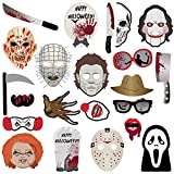 2018 Halloween Photo Booth Props(22pcs) for Halloween Party Supplies, Creepy Costume Props with Sticks for Kids Boy Girl,Black,Orange, Trick or Treat Décor Favor