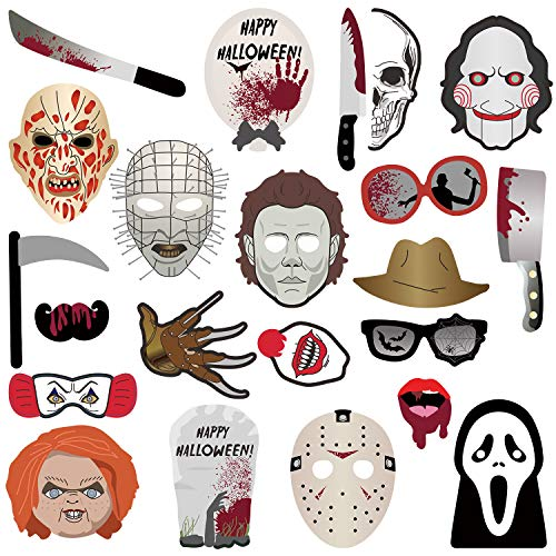 Photo Halloween 2019 (2019 Halloween Photo Booth Props(28cs) for Halloween Party Supplies, Creepy Costume Props with Sticks for Halloween Decorations, Black, Red Trick or Treat Décor)