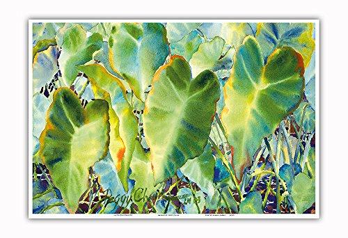 Pacifica Island Art - Na Kalo (Taro) - Native Hawaii Taro Leaf Plant - Taro Patch (Lo'i) - from an Original Hawaii Watercolor Painting by Peggy Chun - Master Art Print - 13in x 19in