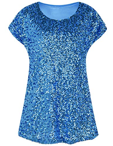 PrettyGuide Women's Sparkly Shirt Glitter Sequined Dolman Loose Tunic Blouse Top Lake Blue L/US14-16