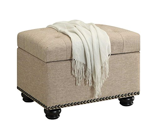 Convenience Concepts Designs4Comfort Storage Ottoman, Tan (Ottoman Table With Coffee Shelf Leather)