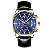 OLMECA Men's Watches Luxury Sports Casual Quartz Wristwatches Waterproof Chronograph Calendar Date Stainless Steel Band Blue Color 828-JJLMpd