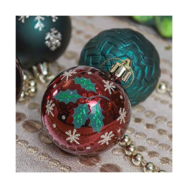 Valery Madelyn Palle di Natale 9 Pezzi 6 cm Palline di Natale, Strada di Campagna Rosso Verde e Oro Infrangibile Ornamenti Palla di Natale Decorazione per Albero di Natale Decor 6 spesavip