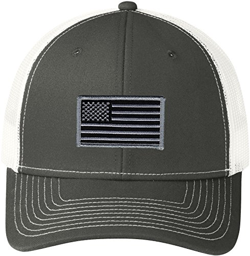 Peerless Embroidery Company American Flag Snapback Trucker Mesh Subdued Grey/White C112