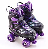 Kids Adjustable 4 Wheel Quad Roller Skates Boots Childrens Rollers (Purple, Medium /UK 2 - 4/)
