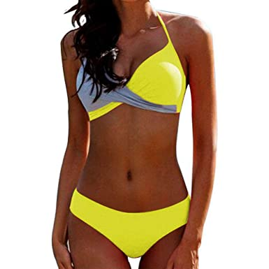 Bikini Elegante Traje de Baño Conjunto Bañador Halter Sexy Sólido ...