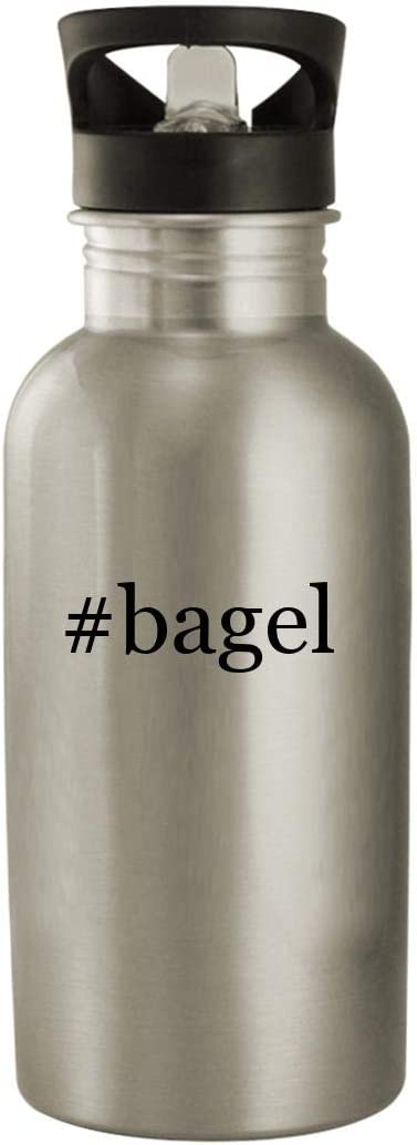#bagel - Stainless Steel Hashtag 20oz Water Bottle, Silver