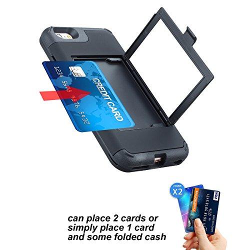 iPhone 6 Plus / iPhone 6s Plus Funda, FindaGift Soft TPU + PC híbrido A prueba de choques Estuche de teléfono con espejo y ranuras para tarjetas Caja del teléfono de las muchachas para iPhone 6 Plus / Negro