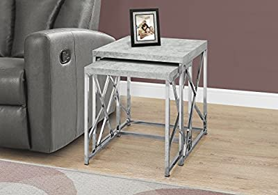 Monarch Specialties I 3376 Nesting Table-2Pcs Set/Grey Cement with Chrome Metal