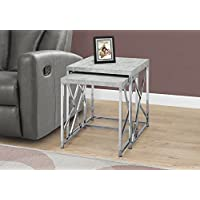 Monarch I 3376 Nesting Table-2Pcs Set/Grey Cement with Chrome Metal