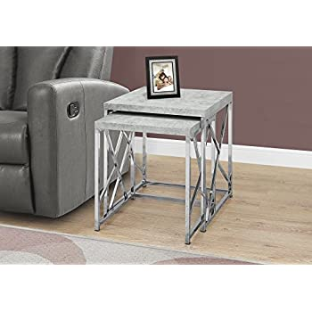 f84f4deb8cb3 Monarch Specialties I 3376 Nesting Table-2Pcs Set Grey Cement with Chrome  Metal